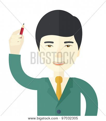 A chinese man holding a pen making his presentation. Teamleader concept. A Contemporary style. Vector flat design illustration isolated white background. Square layout