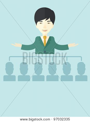 An asian smart gentleman giving a business to his co workers. Business concept. A Contemporary style with pastel palette, soft blue tinted background. Vector flat design illustration. Vertical layout