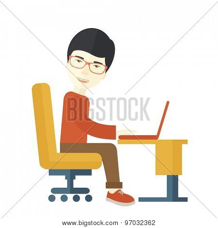 A japanese guy sitting in front of the computer looking for a job online. A Contemporary style. Vector flat design illustration isolated white background. Square layout