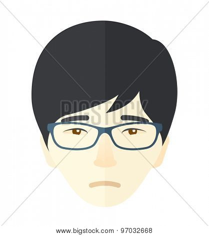 A unhappy face of a chinese young boy. A Contemporary style. Vector flat design illustration isolated white background. Square layout