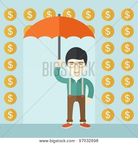 A chinese happy Businessman with umbrella under a rain of dollar coin. A contemporary style with pastel palette soft blue tinted background. Vector flat design illustration. Square layout.