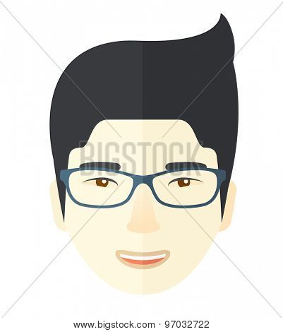 A young professional asian face wearing eyeglasses. A Contemporary style. Vector flat design illustration isolated white background. Square layout