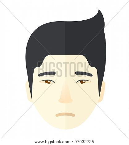 A face of a sad but a good looking japanese guy with his hairstyle. A Contemporary style. Vector flat design illustration isolated white background. Square layout