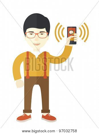 An office worker holding his smartphone vibrating.  A Contemporary style. Vector flat design illustration isolated white background. Vertical layout.