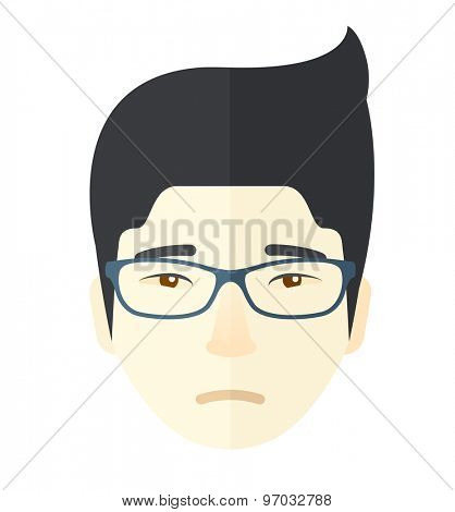 A facial expression of asian man wearing eyeglasses. A Contemporary style. Vector flat design illustration isolated white background. Square layout