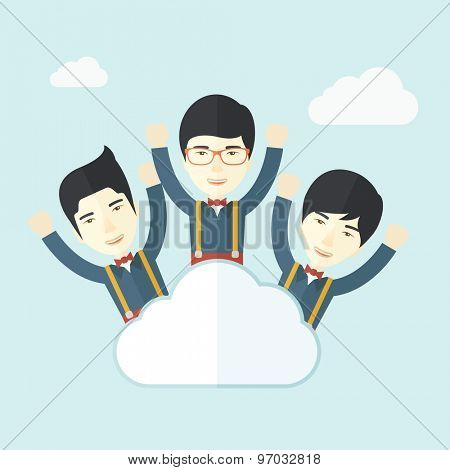 Three businessmen on top of the cloud raising their arms shows that they are happy for their success in business. A contemporary style with pastel palette soft blue tinted background with desaturated