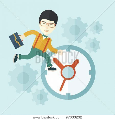 A japanese worker with briefcase is late to Work with a clock symbol. A contemporary style with pastel palette soft blue tinted background. Vector flat design illustration. Square layout.