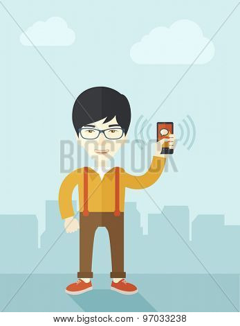 A japanese office worker holding his smartphone vibrating. A contemporary style with pastel palette soft blue tinted background with desaturated clouds. Vector flat design illustration. Vertical