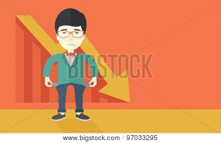 A chinese young man standing and feels bad because of his failure in his business career. Failed, bankrupt concept. A contemporary style with pastel palette soft orange tinted background. Vector flat