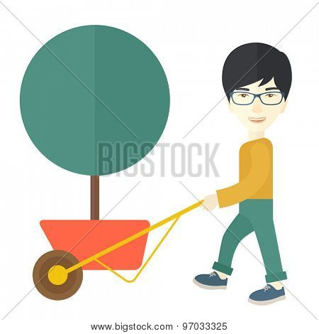 A young japanese man pushing the cart with green tree. Business growth concept. A Contemporary style. Vector flat design illustration isolated white background. Square layout.