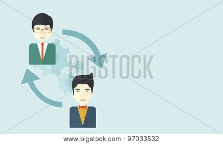 Two asian men in exchanging ideas. Partnership concept. A contemporary style with pastel palette soft blue tinted background. Vector flat design illustration. Horizontal layout with text space in