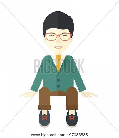 A happy japanese businessman smiling while sitting for his business success. Business concept. A Contemporary style. Vector flat design illustration isolated white background. Square layout.