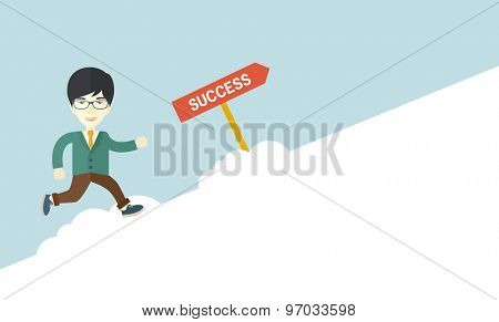 A happy chinese businessman smiling while jumping above the cloud for his success. Business growth concept. A Contemporary style with pastel palette, soft blue tinted background. Vector flat design