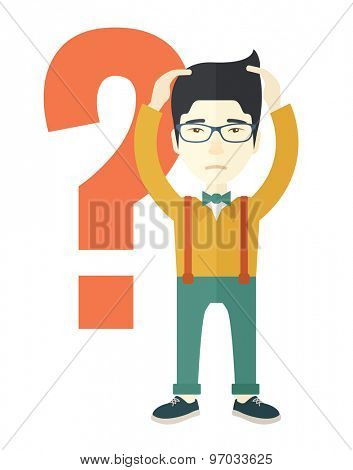 A chinese businessman with a problem standing scratching his head with question mark at his back. Unhappy concept. A contemporary style. Vector flat design illustration with isolated white background