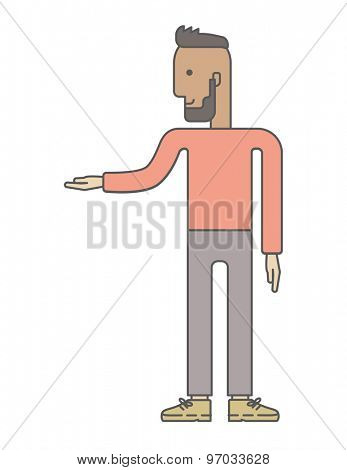A businessman giving presentation. A Contemporary style. Vector flat design illustration isolated white background. Vertical layout