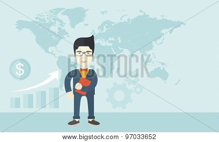 A chinese office clerk standing holding a book under his arm. A Contemporary style with pastel palette, soft blue tinted background. Vector flat design illustration. Horizontal layout.