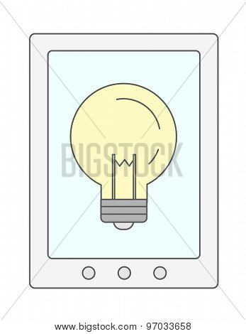 A bulb in cellphone. A Contemporary style. Vector flat design illustration isolated white background. Vertical layout