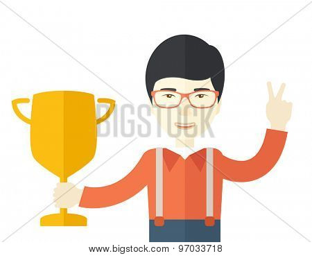 A chinese businessman proudly holding up winning trophy. Winner concept. A Contemporary style. Vector flat design illustration isolated white background. Square layout.