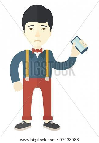 A japanese Man with smartphone in hand. A contemporary style. Vector flat design illustration with isolated white background. Vertical layout.