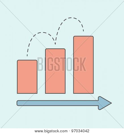 A business graph with red rising bar showing of sales increased. A Contemporary style. Vector flat design illustration isolated white background. Square layout