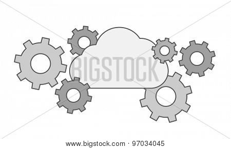 A Gear collection with cloud. A Contemporary style. Vector flat design illustration isolated white background. Horizontal layout.