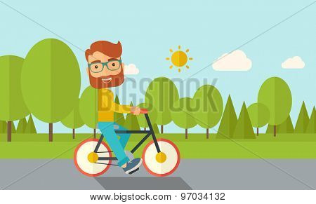 A happy caucasian riding a bicycle under the sun. Contemporary style with pastel palette, soft blue tinted background with desaturated cloud. Vector flat design illustrations. Horizontal layout.
