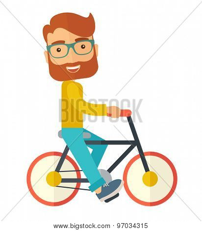 A happy caucasian riding a bicycle under the sun. A Contemporary style. Vector flat design illustration isolated white background. Square layout