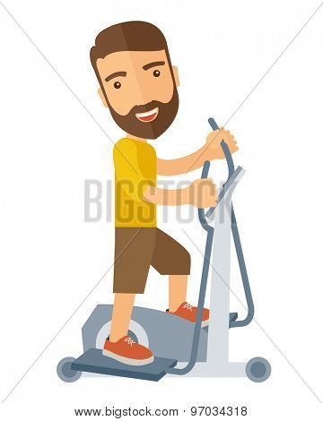 A happy caucasian in gym sport workout exercises. A Contemporary style. Vector flat design illustration isolated white background. Vertical layout.