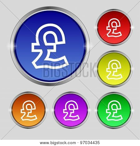 Pound Sterling Icon Sign. Round Symbol On Bright Colourful Buttons. Vector