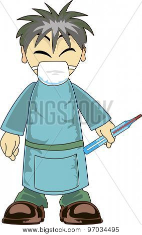 Illustration of a cartoon Asian doctor holding a thermometer