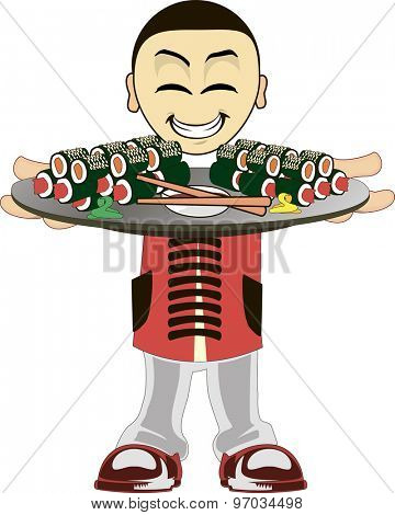 Illustration of a Asian waiter on a white background