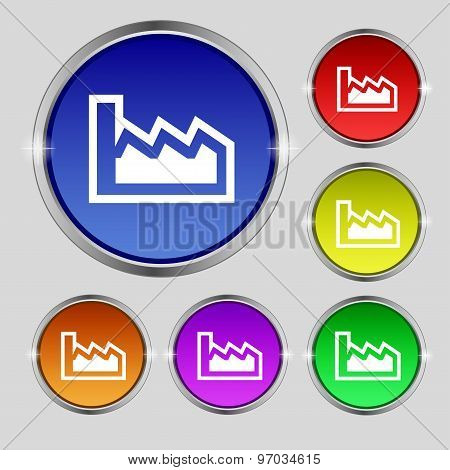 Chart Icon Sign. Round Symbol On Bright Colourful Buttons. Vector