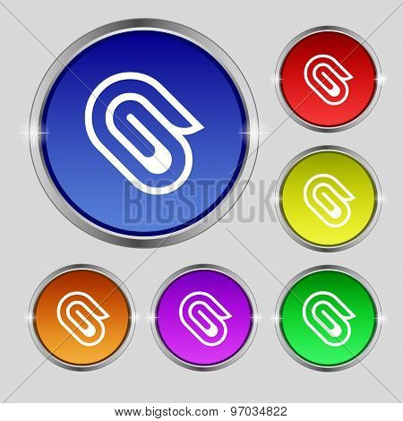 Paper Clip Icon Sign. Round Symbol On Bright Colourful Buttons. Vector