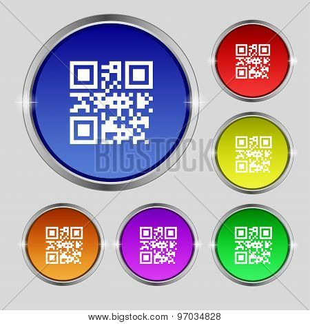 Qr Code Icon Sign. Round Symbol On Bright Colourful Buttons. Vector