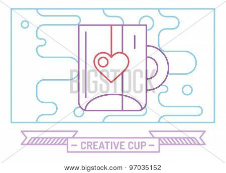 Red vector cup icon. Tea, drink, dinner and food, creative or idea, designer brainstorm