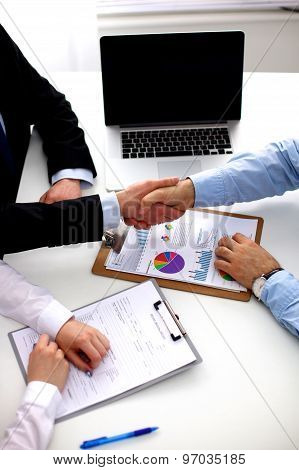 Business meeting at office. handshake in office