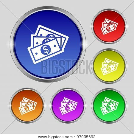U.s Dollar Icon Sign. Round Symbol On Bright Colourful Buttons. Vector