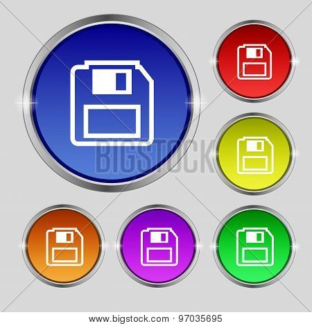Floppy Disk Icon Sign. Round Symbol On Bright Colourful Buttons. Vector