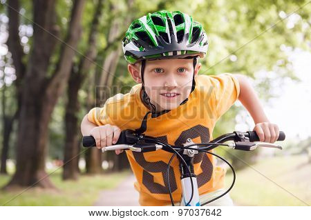 Happy Little Boy Ride A Bicycle