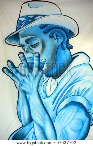 Blues man mural