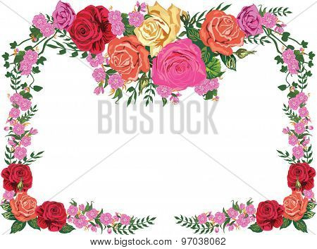 illustration with rose floral frame decoration on white background