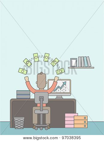 A Caucasian businessman sitting facing backward happy looking his graph sales growing up. Business growth concept. A Contemporary style with pastel palette, soft blue tinted background. Vector flat