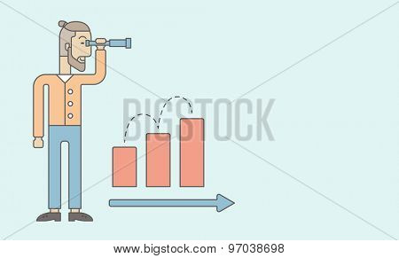 A Caucasian businessman standing using binocular to look over the graph that shows increasing in sales. Growing business concept.  A contemporary style with pastel palette, soft blue tinted background