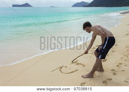 Young Man Sandwriting