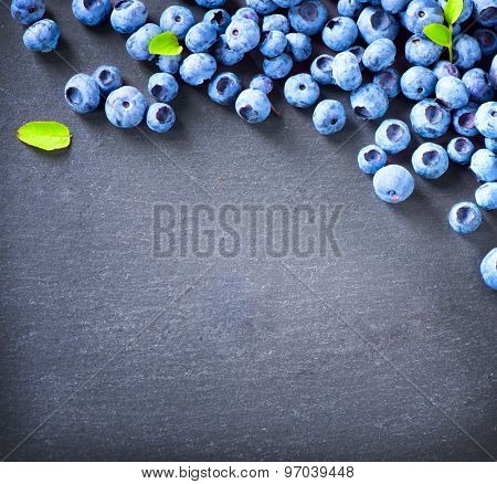 Blueberry border design. Blueberries background. Ripe and juicy fresh picked blueberries closeup. Copy space for your text.