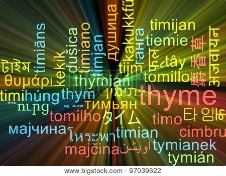 Background concept wordcloud multilanguage international many language illustration of thyme glowing light