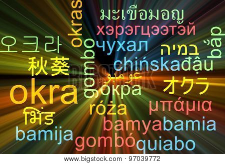 Background concept wordcloud multilanguage international many language illustration of okra glowing light
