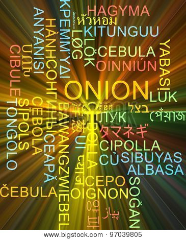 Background concept wordcloud multilanguage international many language illustration of onion glowing light