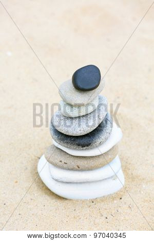 Zen stones balance spa on beach
