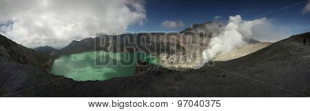 Acid lake in the crater of the active volcano of Kawah Ijen in East Java, Indonesia.